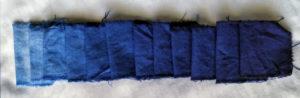 Muestrario de teñido en algodón con Hidrosulfito de Sodio